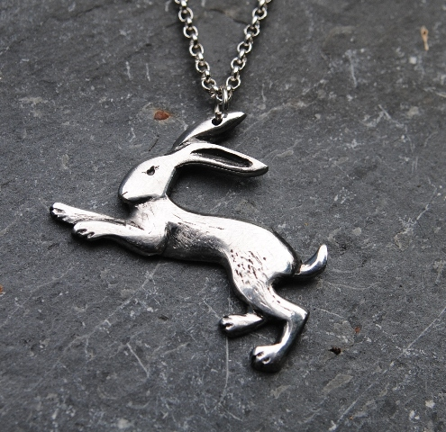 Hare pendant necklace p49 lovely pewter hare pendant on a silver plated chain aloadofball Gallery